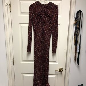 DOEN Burgundy Block Print Maxi Dress Sz XS